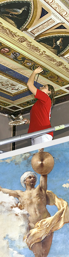Personnel of the company El Barco - Restoration of paintings on ceiling